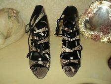 ZARA SNAKE PRINT LEATHER LACE UP ANKLE SHOES BOOTS STILETTO*EU38*UK5*US7.5*BAG