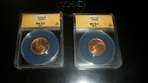 JAPAN 1 SEN  1927 ANACS MS64 RED AND 1929 ANACS MS63 RED  BOTH BU NICE COINS