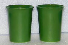 2 Hazel Atlas Dark Green Ovide Glass Tumblers Water Glasses Fired On Color