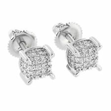 Mens Womens Lab Diamonds Iced Out Screw Back Stud Earrings 6 MM