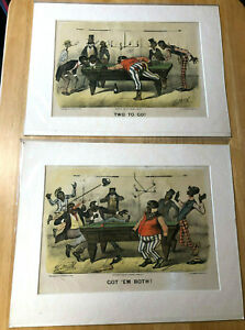 1882 Currier & Ives Darktown Billiards Thomas Worth Prints Black Memorabilia