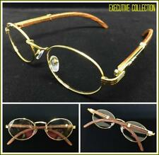 Men's Classy Exotic Elegant Retro Style Clear EYE GLASSES Oval Gold & Wood Frame