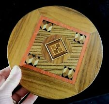 """1980 Exotic Wood Inlay Wall Plaque Artist Signed Maurice M Dubin 7"""" Diameter EXC"""