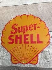 SUPER-SHELL GASOLINE & OIL PORCELAIN DIECUT PUMP PLATE OR LUBESTER SIGN. Esso