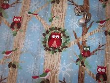 "Owls & Birds in Trees on Blue ""Woodland Christmas"" BTHY Gina Linn Blank Quilting"