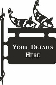 Koi Carp Hanging Sign- Outdoor Black Metal House Sign