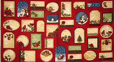 """Christmas Quilt Label Fabric ~ 100% Cotton 24"""" Panel ~ Holly Jolly Santa Snowman"""