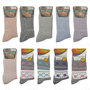 Womens Thermal Boot Socks Ladies Wool Blend Viloft Non Elastic Cosy Warm 4-8