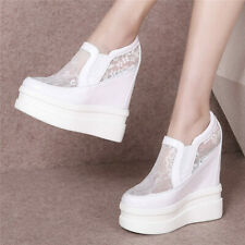 14cm Super High Heel Women Cow Leather Fashion Sneakers Platform Wedge Boots Hot