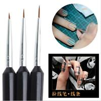 3X Tiny Acrylic Nail Art Design Decoration Pen Brush Painting Drawing Tool FINe