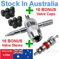 4 Way Tyre Valve Repair Tool stem remover Cars Trucks 4WD + 10 Caps + 10 Cores