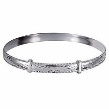 NEW Genuine Solid 925 Sterling Silver Rope Edge Engraved Expand Ladies Bangle
