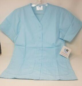 Adar Uniforms Snap Up Scrub Shirt - Women's Light Blue XS NWT