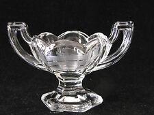 SALT Engraved ETCHED Glass Vintage Trophy Handled Open Footed Salt Cellar