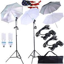 4 x 33'' Photo Studio Fluorescent Lighting Umbrella 2 Blubs+Sockets Pho
