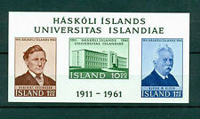 HOJA BLOQUE SIN DENTAR 3 SELLOS ISLANDIA MNH** 1961 HASKOLI ISLANDS UNIVERSITY