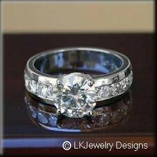1.80 CT MOISSANITE ROUND FOREVER ONE GHI SOLITAIRE SEMI ETERNITY RING