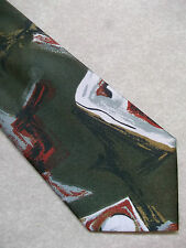 ITALIAN SILKY MENS TIE ABSTRACT 1950'S INSPIRED RETRO DARK OLIVE NEW NECKTIE