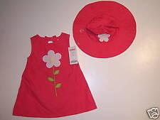 NWT Gymboree Spring Rainbow 3-6 Months Pink Flower Jumper Dress & Hat