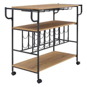 3 Tier Industrial Drinks Trolley Rolling Bar Serving Cart Kitchen Cart Wine Rack
