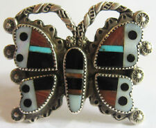 VINTAGE ZUNI INDIAN SILVER INLAY CORAL TURQUOISE ONYX BUTTERFLY RING SIZE 5
