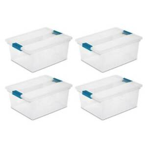 Sterilite Clear Plastic Deep Storage Container Bin with Latching Lid (4 Pack)