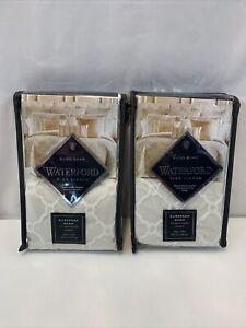 Waterford Fine Linens Euro Sham Pearl Belissa 26x26 Tan Cream Set Of 2 NEW
