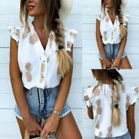 Fashion Women Leisure Loose Long Sleeve Pineapple Print Casual Shirt Tops Blouse