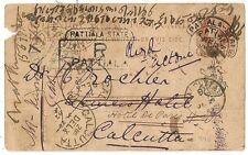 RARE : PATIALA STATE INDIA 1892 POST CARD TO CALCUTTA. INDE. L 990