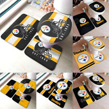 Pittsburgh Steelers 3PC Non-Slip Bathroom Bath Mat Toilet Lid Cover Contour Rug