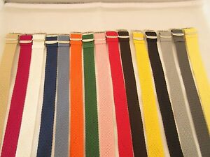 Perlon Woven Nylon Watch Strap Band Silver Buckle 20mm 22mm 24mm various colours