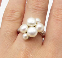 925 Silver - Freshwater Pearl & White Cubic Zirconia Cocktail Ring Sz 7 - RG3424