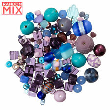 Glass Acrylic Metal Beads Mix Blues And Purples 100g (R86)