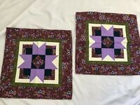 "Handmade Quilted Table Runner Mat Topper 19"" Square Purple Green Set 2"