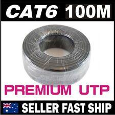 100m Cat 6 Cat6 Black Premium Soild Core Ethernet Network LAN Patch Cable Lead