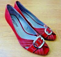 Marco Tozzi Ladies Peep Toe Leather Red Shoes Size UK 7.5 EUR 41