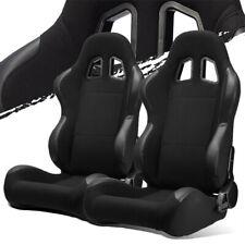 Black Pineapple Fabricpvc Leather Leftright Recaro Style Racing Bucket Seats