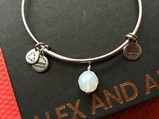RARE NEW ALEX and ANI WHITE OPAL OONA Drop Charm SILVER Beaded Bangle BRACELET💎