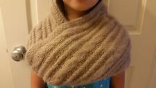 hand-knitted long hair Angora Goats cashmere infinity scarf(beige)