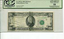 MAJOR PAPER JAM TEAR MISSING OVERPRINT ERROR NOTE 1981 FR 2073-L $20 FRN PCGS 58