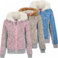 Womens Padded Borg Warm Fleece Lined Full Zip Up Hooded Sweatshirt Jacket Coat