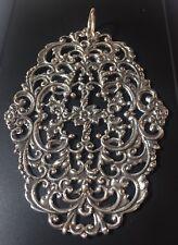 Pendant Large Flowers Flourishes Boho Antique Georgian Ornate Silver Buckle