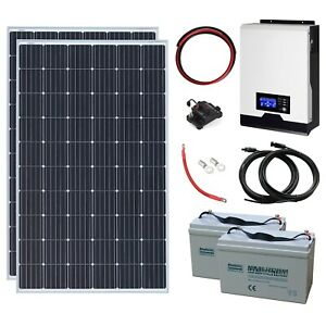 600W 24V Complete Off-grid System with 2 x 300W Solar panels & Hybrid inverter