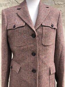 Brooks Brothers Brown Pink Herringbone Plaid 3 Button Wool Blazer Size 6 Italy