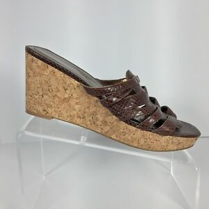 Enzo Angiolini Womens Wedge Cork Sandals Size 9 Medium Eagimme Brown