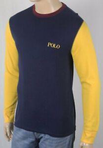 Polo Ralph Lauren Navy Crewneck Waffle Sleep Shirt Yellow Logo NWT