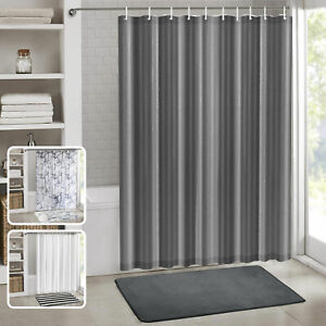 Extra Long Shower Curtain With Hooks Ring Waterproof Modern Bathroom Accessories