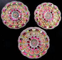 "3 Czech Glass LACY Buttons #B352 - 27 mm or 1"" - RAINBOW IRIDESCENT!!!!!!!!!!!!!"