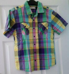 boys M&S green mix short sleeve shirt age 12