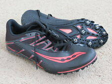 Excellent Saucony Spitfire black+sort of neon pink track spikes mens 7 womens 8